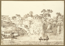 View of the opium bungalow and encampment at Gulzarbagh, near Patna City (Bihar); a road coming down to the river. 19 November 1824